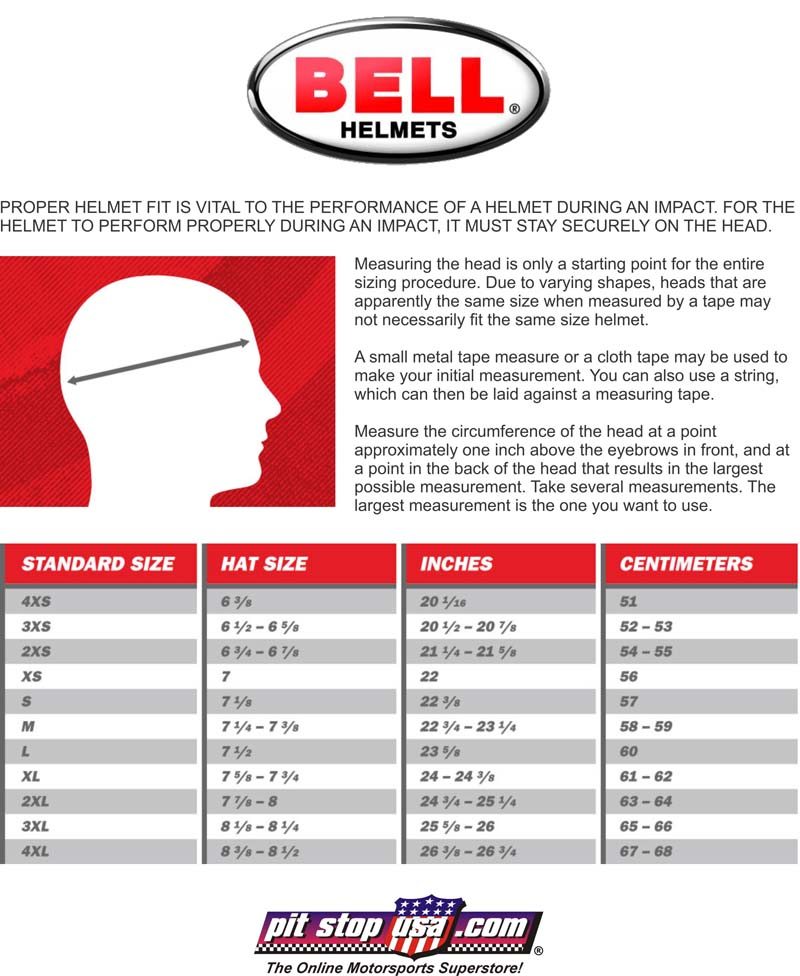Sizing Chart: Bell Auto Racing Helmets