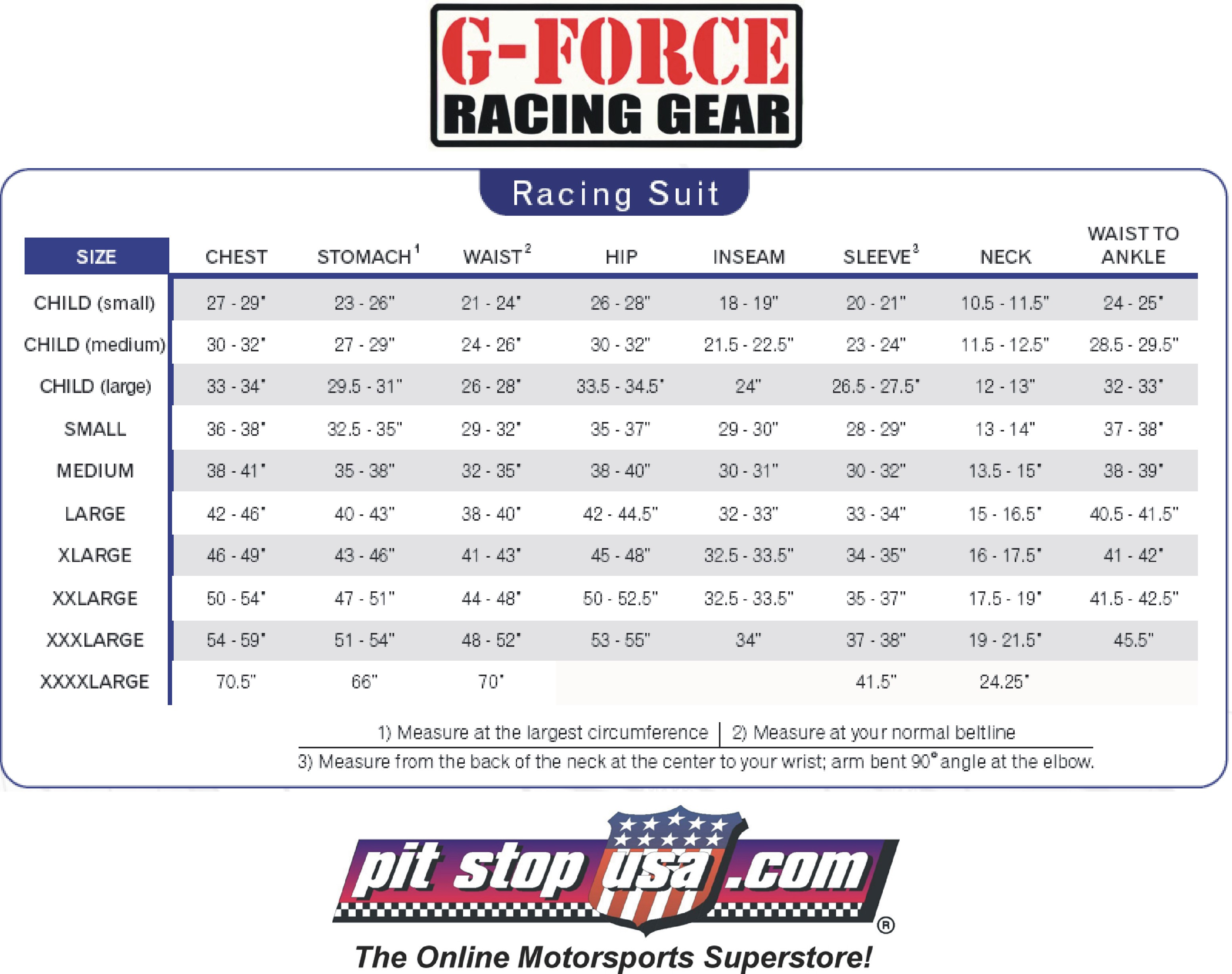 G-Force Auto Racing Suit Sizing Chart