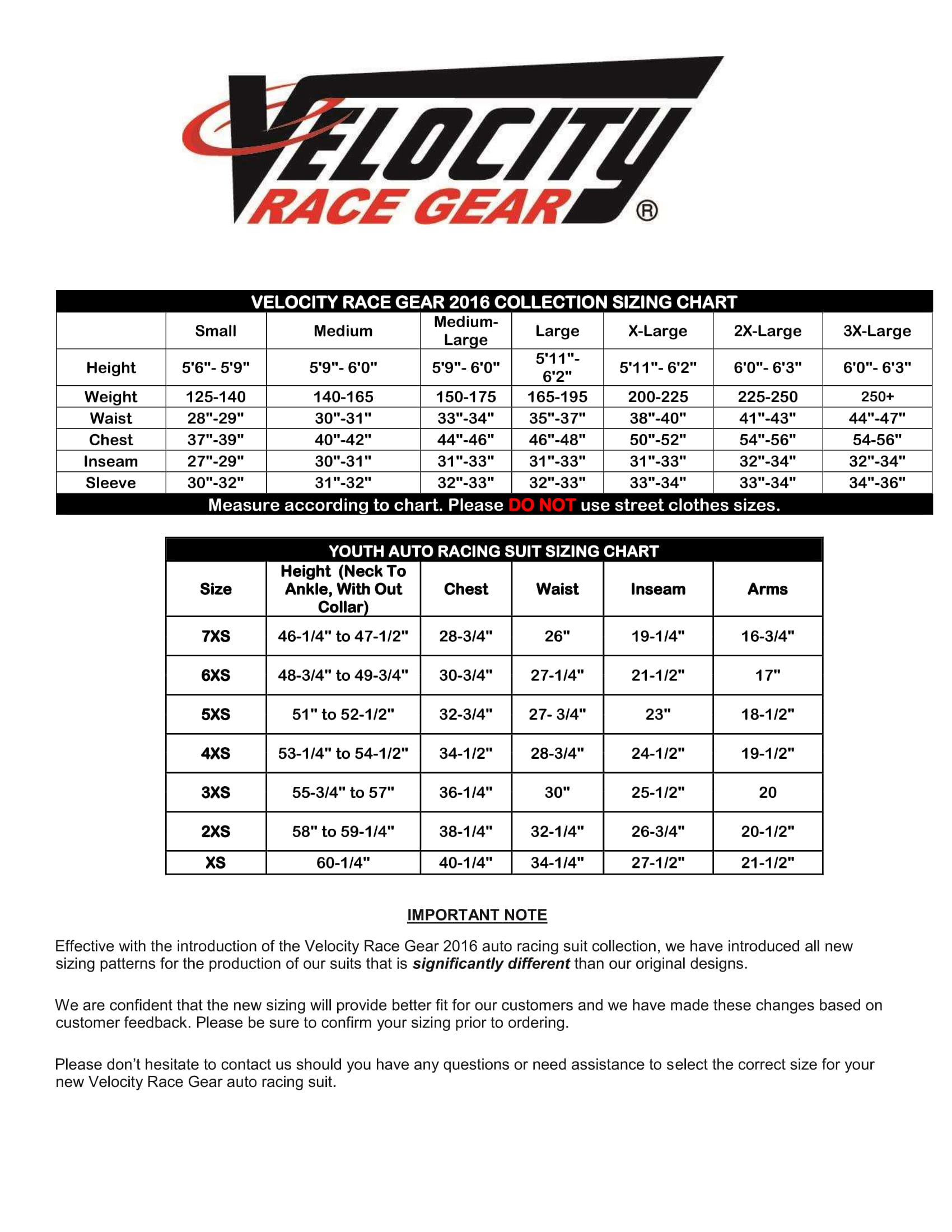 Velocity Auto Racing Suit Sizing Chart