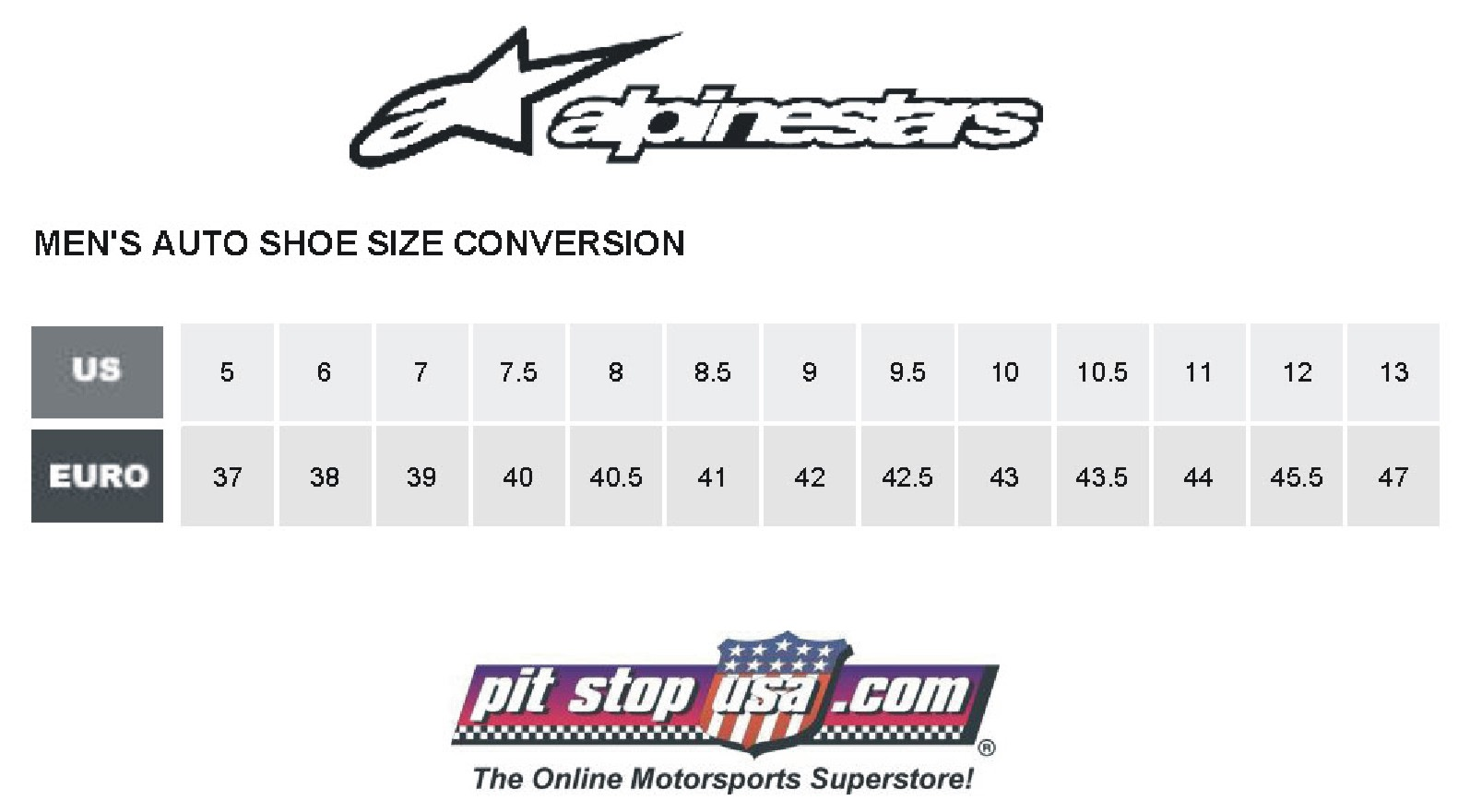 Alpinestars Auto Racing Shoe Size Conversion Chart
