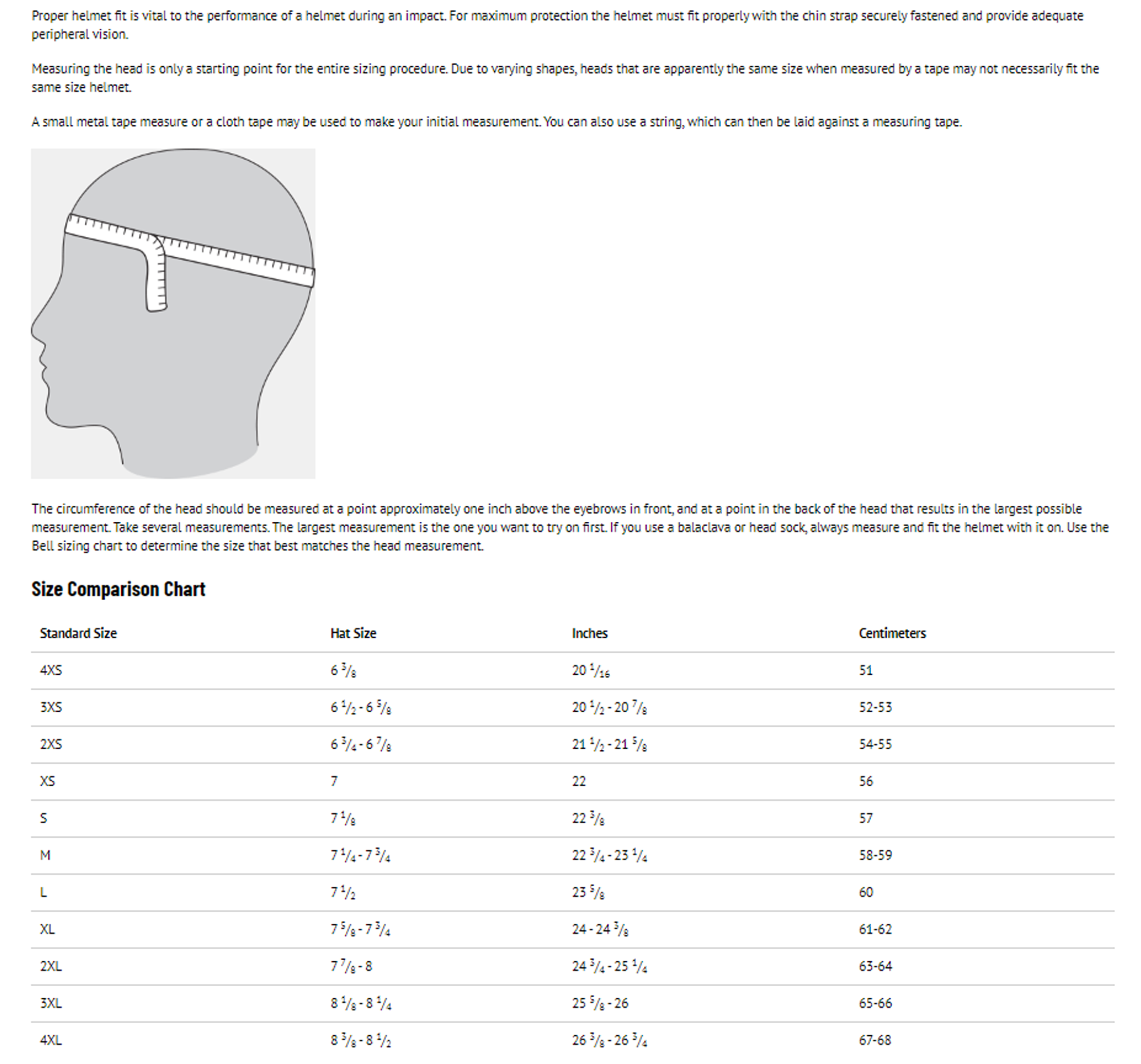 Helmet sizing chart car pictures