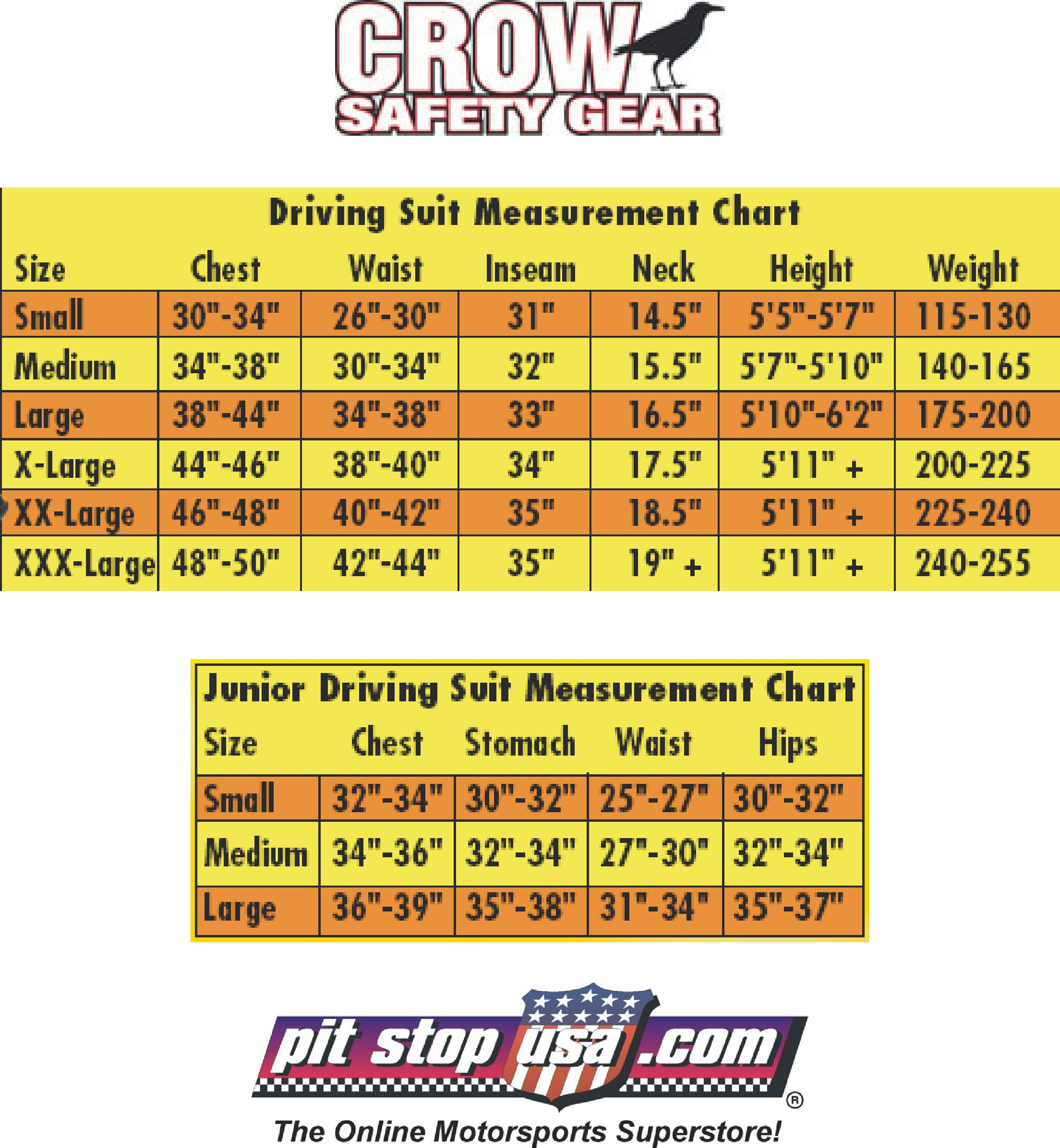 Crow Auto Racing Suit Sizing Chart