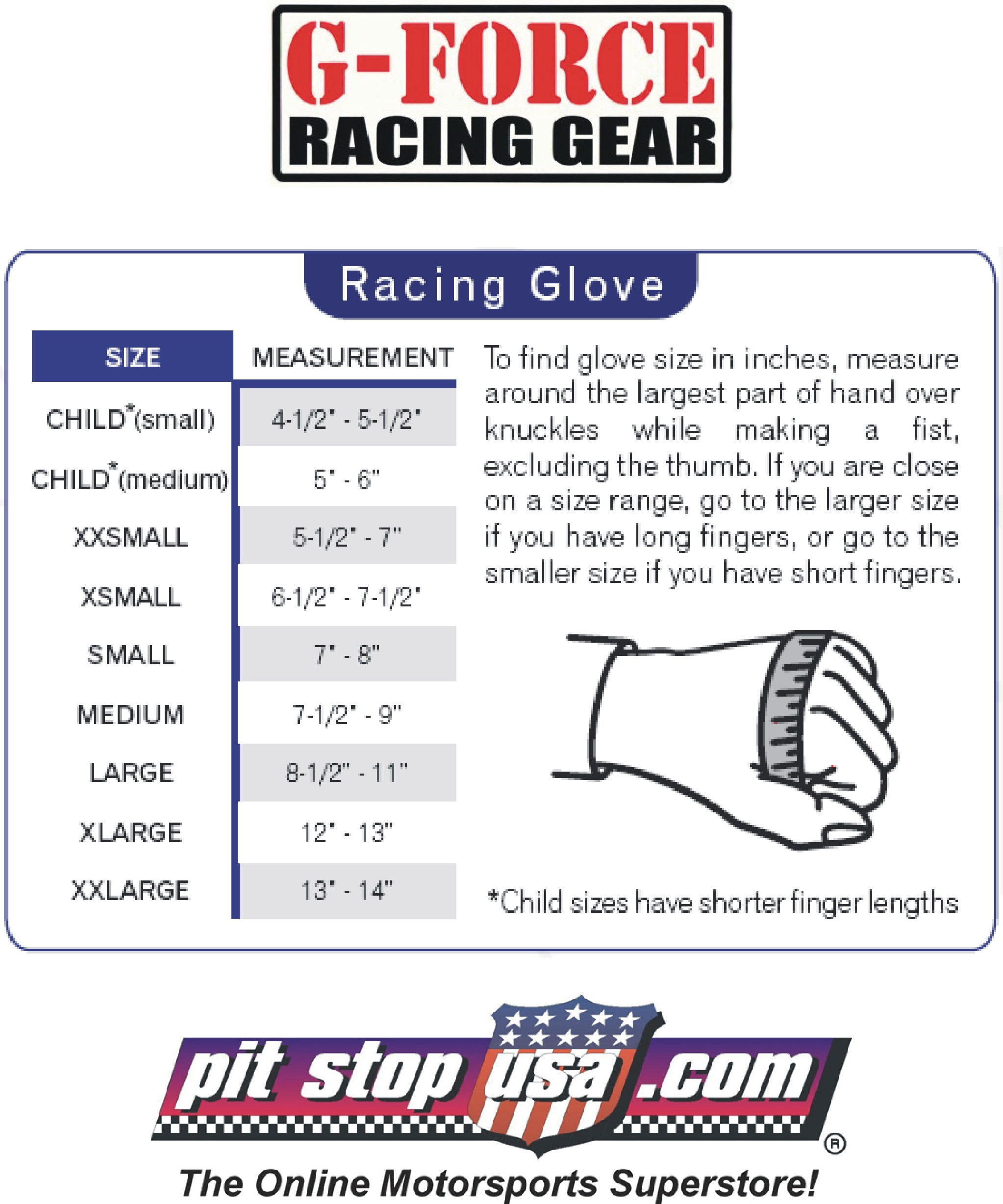 G-Force Auto Racing Glove Sizing Chart