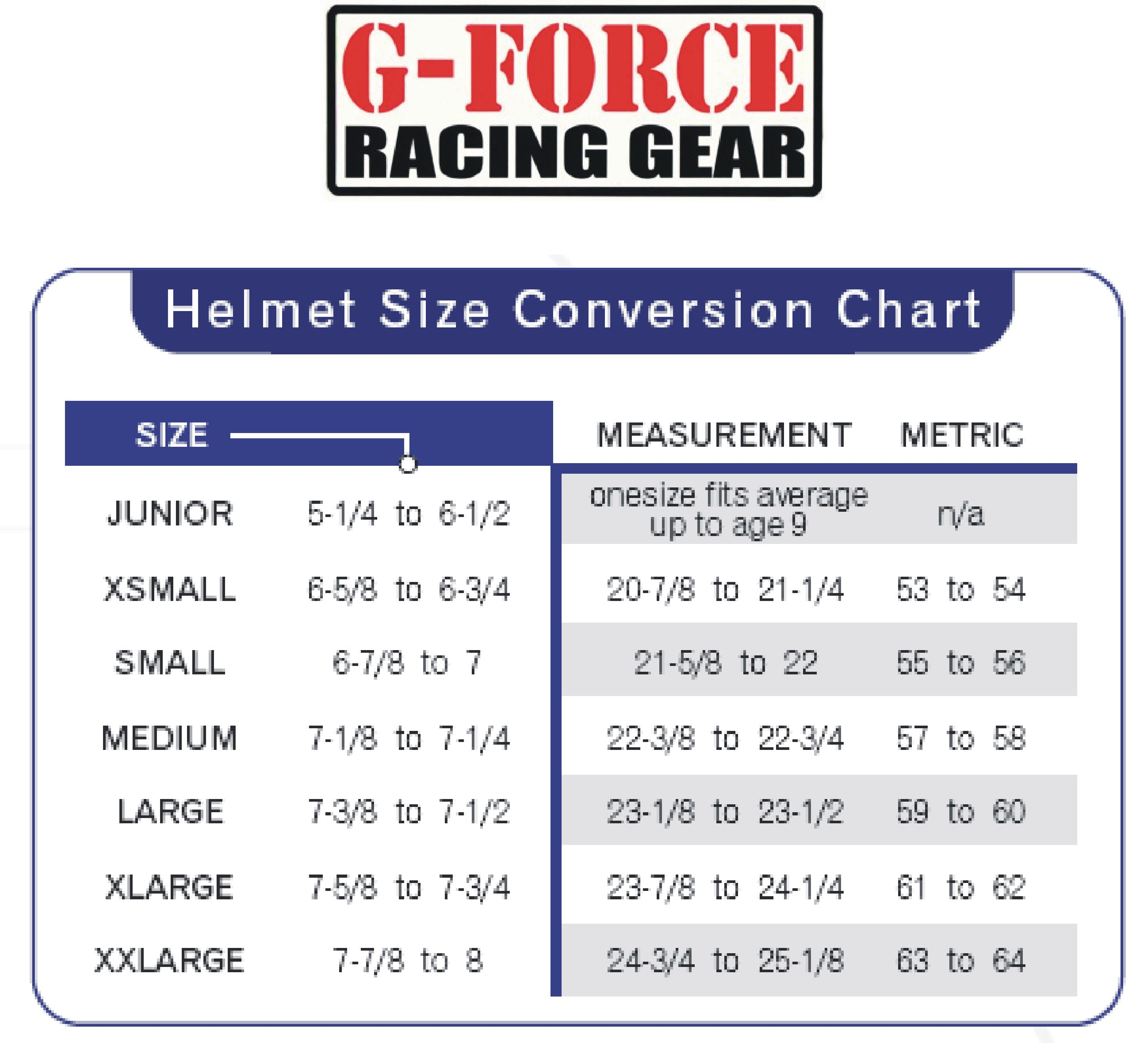 G-Force Auto Racing Helmet Sizing Chart