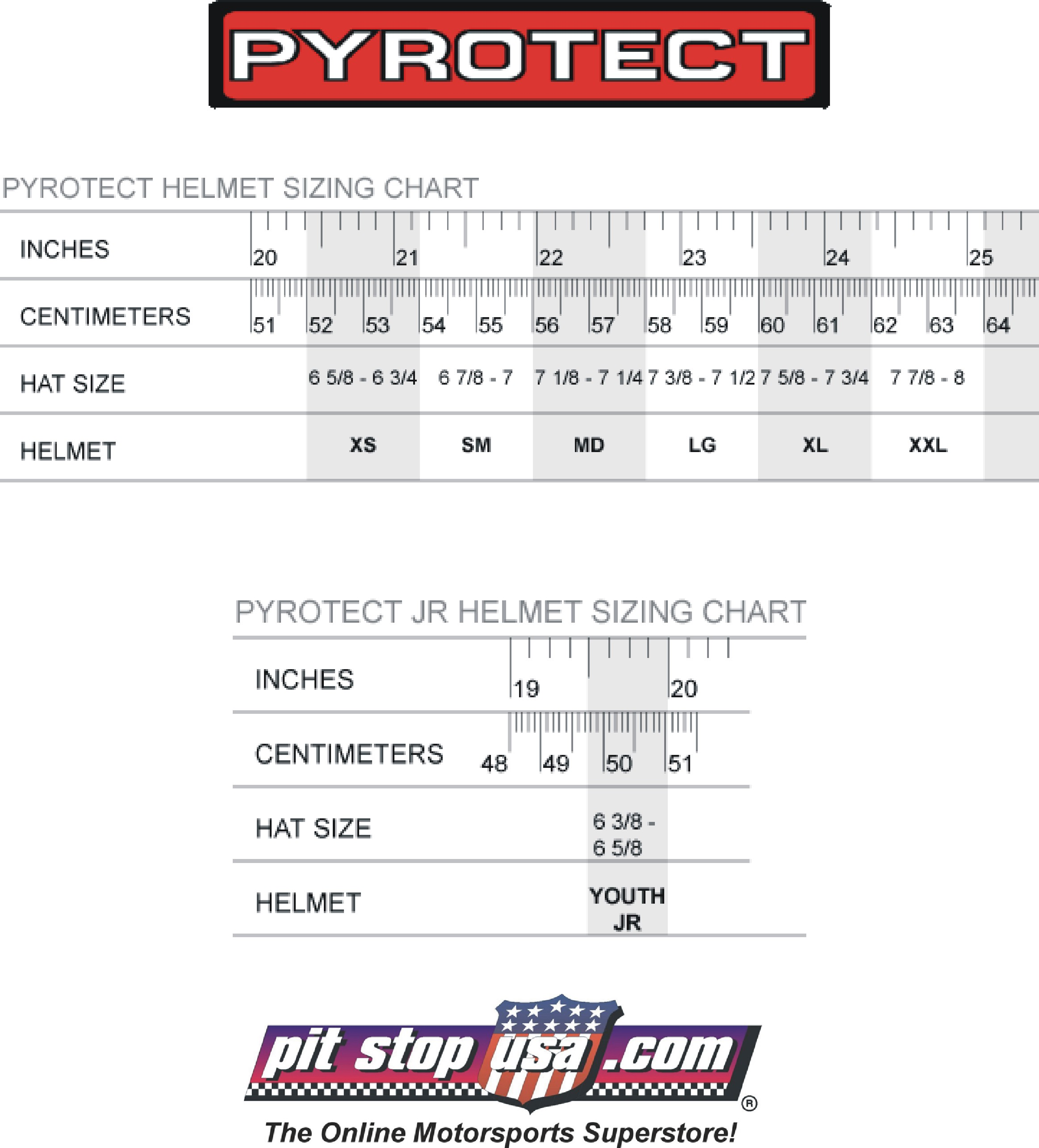 Pyrotect Auto Racing Helmet Sizing Chart
