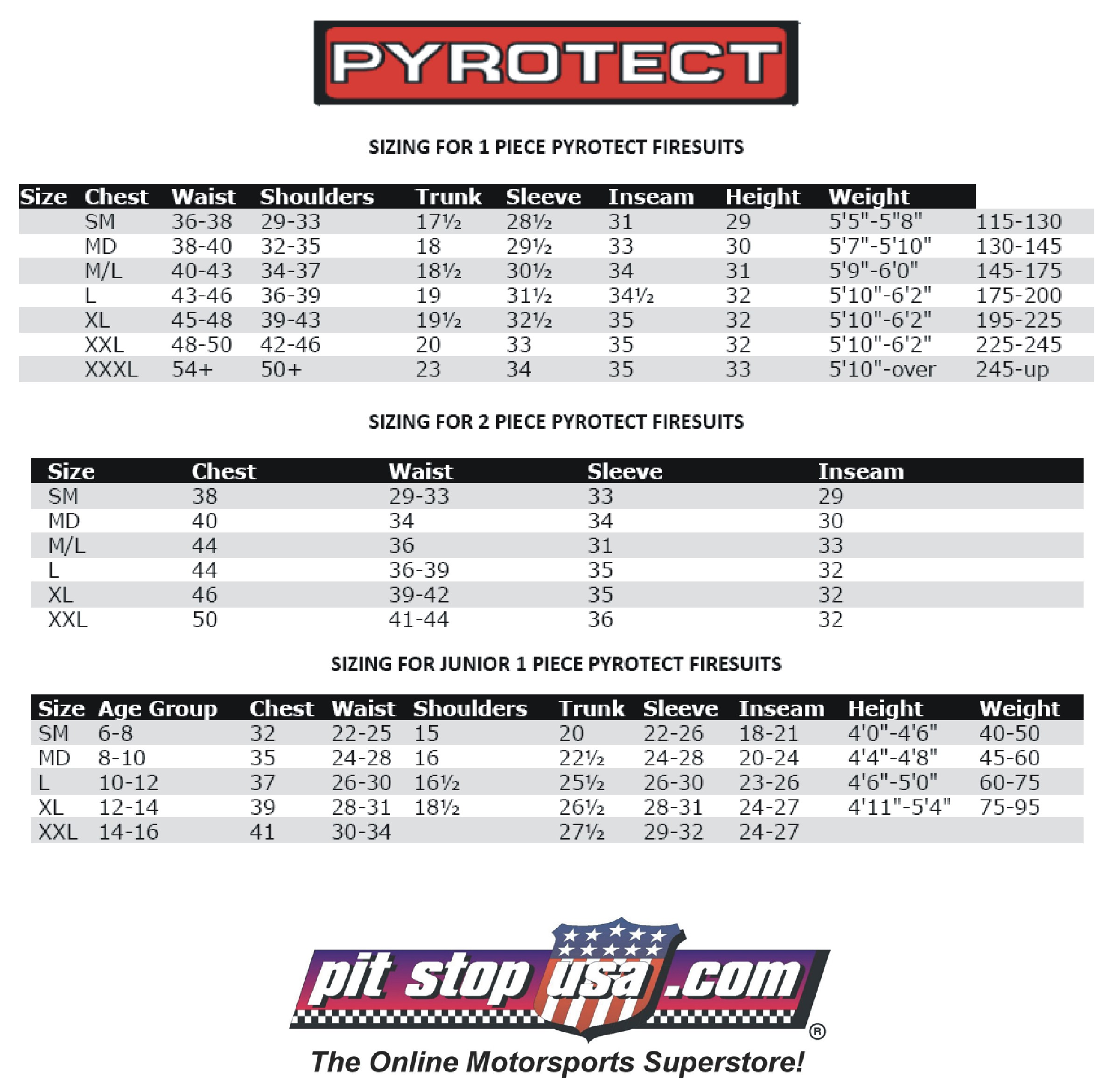 Pyrotect Auto Racing Suit Sizing Chart