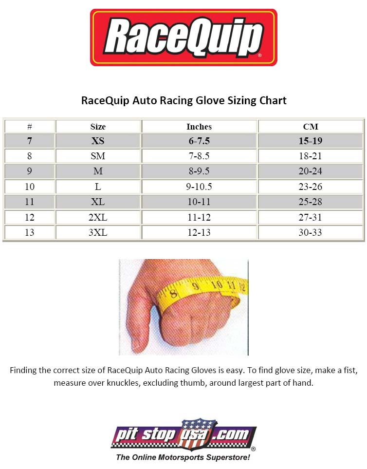 RaceQuip Auto Racing Glove Sizing Chart
