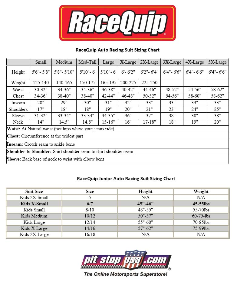 RaceQuip Auto Racing Suit Sizing Chart