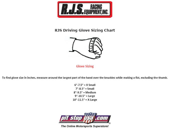 RJS Auto Racing Glove Sizing Chart