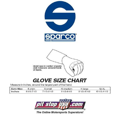 Auto Racing Apparel on Sizing Chart  Sparco Auto Racing Gloves
