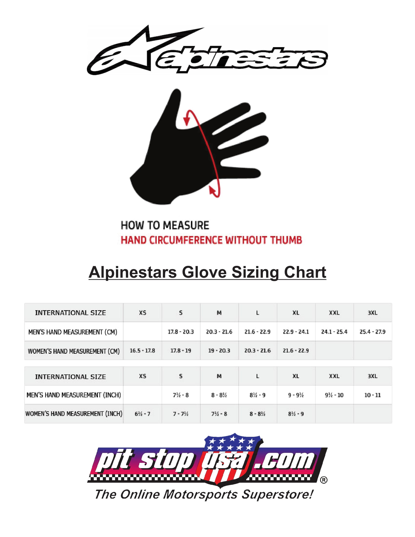 Alpinestars Auto Racing Glove Sizing Chart
