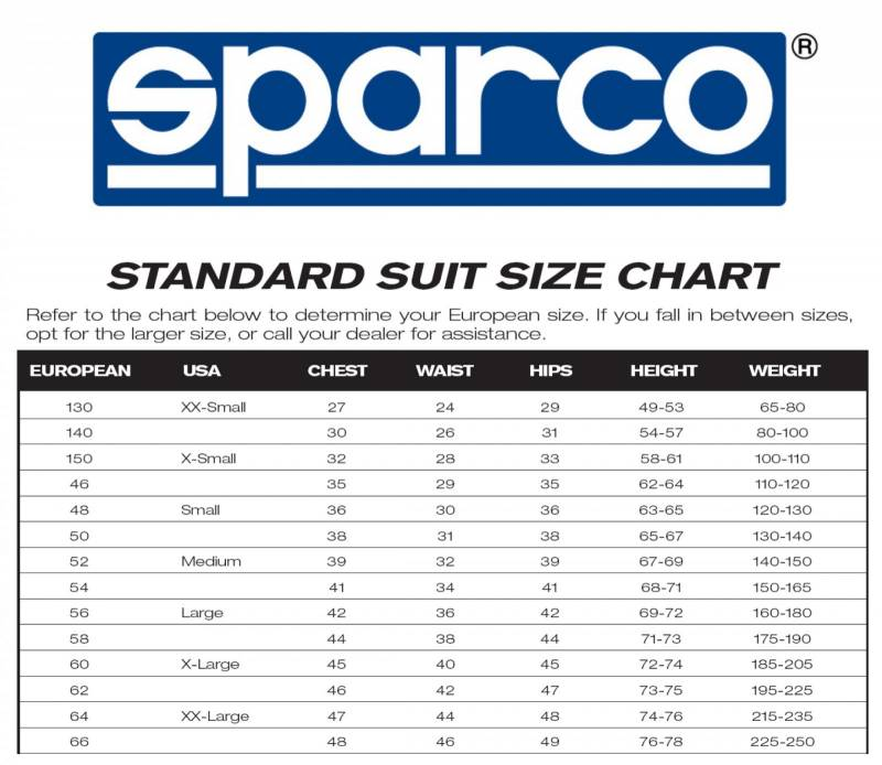 Sparco Pro Cup X-2 Driving Suit Sizing Chart