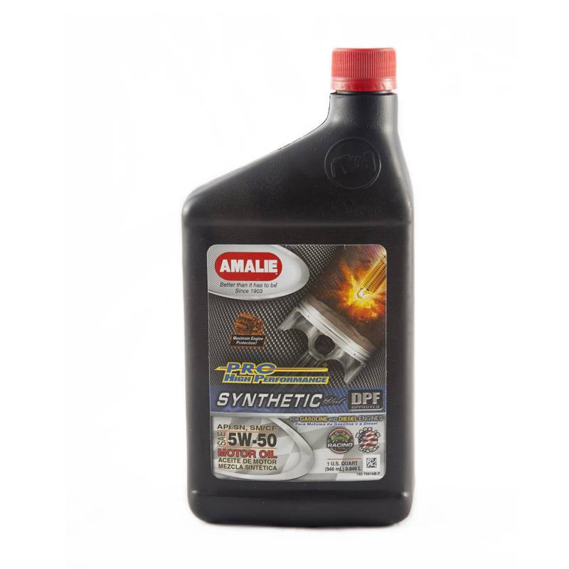 Amalie pro high performance synthetic blend motor oil 5w for 5w 50 synthetic motor oil