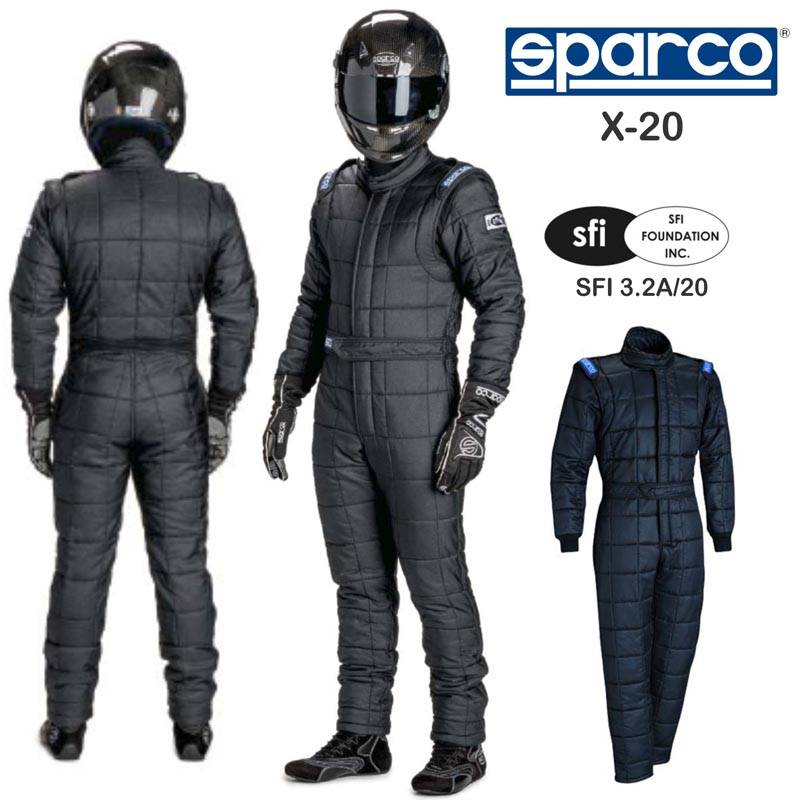 Sparco X-20 Drag Racing Suit - Black 001109X20N
