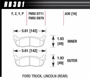 Hawk LTS Brake Pads Front And Rear For F-250 Super Duty Pickup F-350 Super Duty