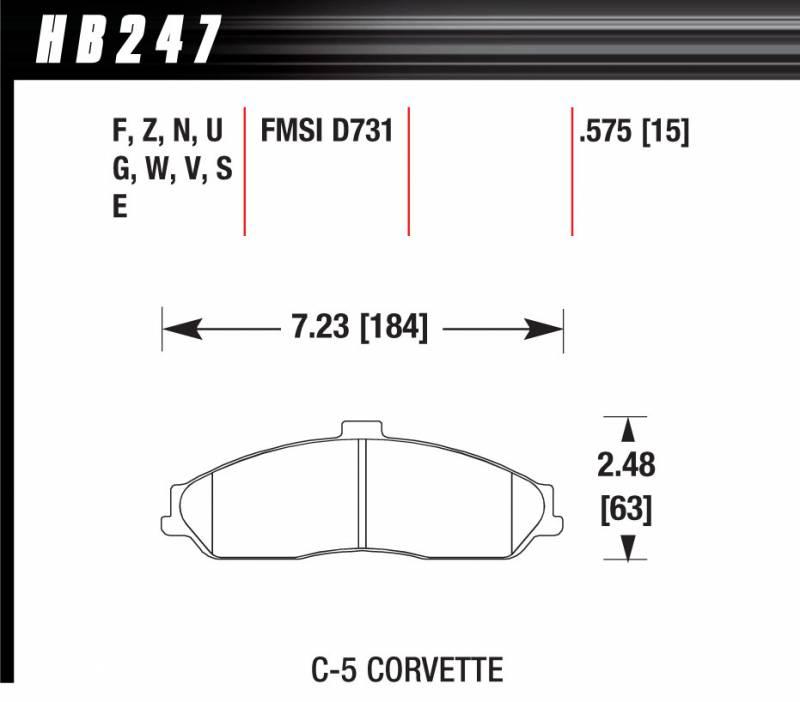 Hawk Performance HB247F.575 HPS High Performance Street Compound Brake Pad