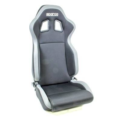 Sparco Seat R100 Reclining Side Bolsters Harness Openings Fiberglass Composite Fabric Gray Black 00961nrgr
