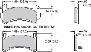 Brake Pad Sets - Circle Track - GM Metric Pads (D154)