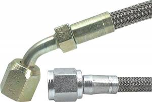Brake Line Hoses - #4 Braided Steel Hose With -4AN Straight / 45 Degree Ends