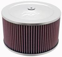 "K&N Filters - K&N Air Cleaner Assembly - Raised Base - Polished Stainless - 9"" x 6-3/8"" - 5-1/8"" Carb Flange"