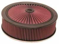 "K&N Filters - K&N XStream® Top Air Cleaner Assembly - Raised Base - Black Powder Coat - 14"" x 5-1/2"" - 7-5/16"" Carb Flange"