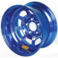 "Aero Race Wheel - Aero 52 Series IMCA Rolled Wheel - Blue Chrome - 15"" x 8"" - 5 x 4.75"" Bolt Circle - 3"" Back Spacing - 19 lbs."