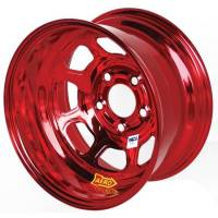 "Aero Race Wheel - Aero 52 Series IMCA Rolled Wheel - Red Chrome - 15"" x 8"" - 5 x 5"" Bolt Circle - 3"" Back Spacing - 19 lbs."