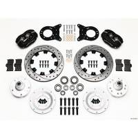 Wilwood Engineering - Wilwood Forged Dynalite Big Brake Front Brake Kit (Hub) - Black Anodized Caliper - SRP Drilled & Slotted Rotor - 65-69 Mustang Drilled