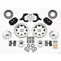 Wilwood Engineering - Wilwood Forged Dynalite Pro Series Front Brake Kit - Black Anodized Caliper - SRP Drilled & Slotted Rotor - 55-57 Chevy