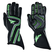 Velocity Race Gear - Velocity Grip Glove - Black/Fluo Green/Silver