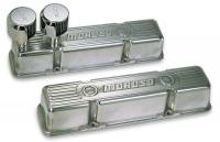 Moroso Performance Products - Moroso Die-Cast Aluminum Valve Covers - Polished SB Chevy - Tall Design - Two Breather Tubes