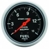 Auto Meter Products - Auto Meter 1-15 PSI Sport-Comp Fuel Pressure Gauge w/ Isolator - 2-5/8""