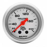 "Auto Meter Products - Auto Meter Mini Ultra-Lite Oil Pressure Gauge - 2-1/16"" - 0-200 PSI"