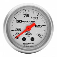 "Auto Meter Products - Auto Meter Mini Ultra-Lite Oil Pressure Gauge - 2-1/16"" - 0-150 PSI"
