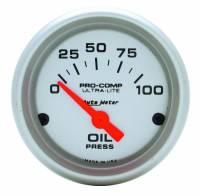 "Auto Meter - Auto Meter Mini Ultra-Lite Electric Oil Pressure Gauge - 2-1/16"" - 0-100 PSI"