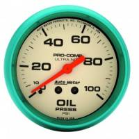 "Auto Meter Products - Auto Meter Ultra-Nite Oil Pressure Gauge - 2-5/8"" - 0-100 PSI"