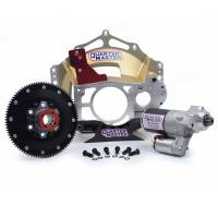Quarter Master - Quarter Master Magnesium Clutchless Bellhousing Package - For Bert, Brinn Standard Rotation Transmissions - Chevy Bellhousing - Side Mount Pump - 110T Ring Gear - Reverse Rotation Starter
