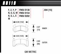 Hawk Performance - Hawk Performance HT-10 Brake Pads - Fits Metric GM