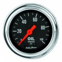 "Auto Meter - Auto Meter Traditional Chrome 2-1/16"" Oil Pressure Gauge - 0-100 PSI"