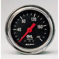 "Auto Meter Products - Auto Meter Traditional Chrome 2-1/16"" Oil Pressure Gauge - 0-200 PSI"