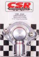"CSR Performance Products - CSR Performance Billet Aluminum 360° Swivel Thermostat Housing - Clear (Silver) Anodized - Chevy Big, SB - 1-1/2"" Hose Connection"