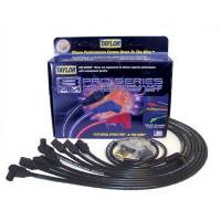 Taylor Cable Products - Taylor 8mm Spiro-Pro Wire Set - Black - 90° Plug Boots - HEI Distributor Boots - SB Chevy, Under Headers