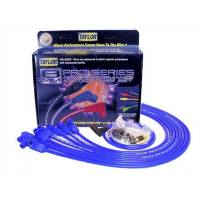 Taylor Cable Products - Taylor 8mm Spiro-Pro Wire Set - Blue - 90° Plug Boots - HEI Distributor Boots - SB Chevy, Under Headers