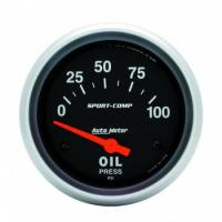 "Auto Meter - Auto Meter Sport-Comp Electric Oil Pressure Gauge - 2-5/8"" - 0-100 PSI"