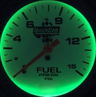 QuickCar Racing Products - QuickCar Extreme Fuel Pressure Gauge w/ Built-In LED Warning Light - 2-5/8""