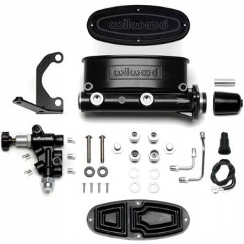"Wilwood Engineering - Wilwood Aluminum Tandem Master Cylinder Kit w/ Bracket and Proportioning Valve - 1-1/8"" Bore - Black"