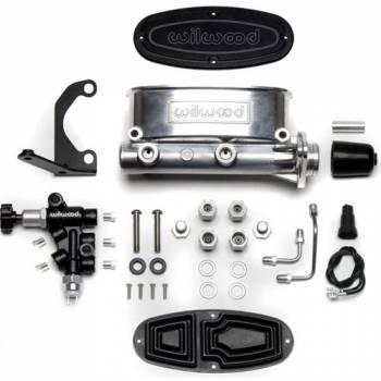 "Wilwood Engineering - Wilwood Aluminum Tandem Master Cylinder Kit w/ Bracket and Proportioning Valve - 1-1/8"" Bore - Polished"