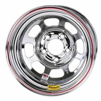 """Bassett Racing Wheels - Bassett IMCA D-Hole Wheel - Reverse Bell - 15"""" x 8"""" - 5 x 5"""" - Chrome - 2"""" Back Spacing - 19 lbs."""