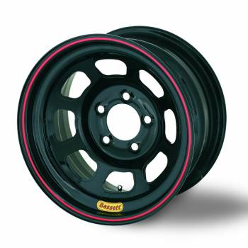 "Bassett Racing Wheels - Bassett D-Hole Lightweight Wheel - 15"" x 8"" - 4 x 100mm - Black - 5"" Back Spacing - 17 lbs."