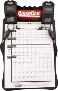 QuickCar Clipboard Timing System - Black - (2) Robic SC505 Watches